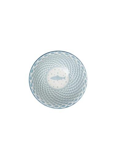 Warm Design Deniz Kıyısı Desenli Seramik Kase Mavi